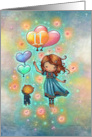 Eleven Year Old Birthday Little Girl with Kitty and Heart Balloons card
