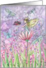 Sweet Flower Fairy Card - Ladybugs and Dragonflies card