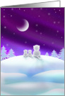 Chirstmas Holiday Card - Cute White Cats on Snow Hill card