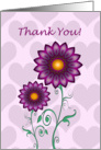Thank you card - Flowers and Hearts card