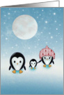 Christmas Card - Penguins on a Starry Night card