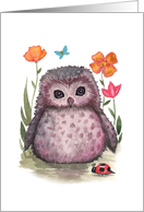 Thinking of You Card - Little Owl and Ladybug card