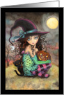 Halloween Witch and Black Cats card