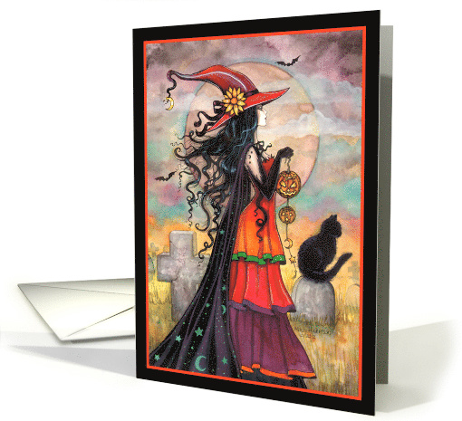Witch Way - Halloween Witch and Black Cat card (1160070)