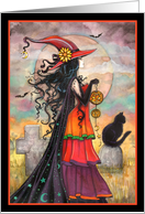 Witch Way - Halloween Witch and Black Cat card