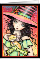Witch with Peaches - Halloween Witch and Orange Tabby Cat card