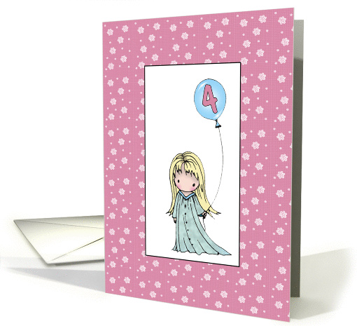 Four Year Old Birthday Card - Turning 4 for GIRLS card (852411)