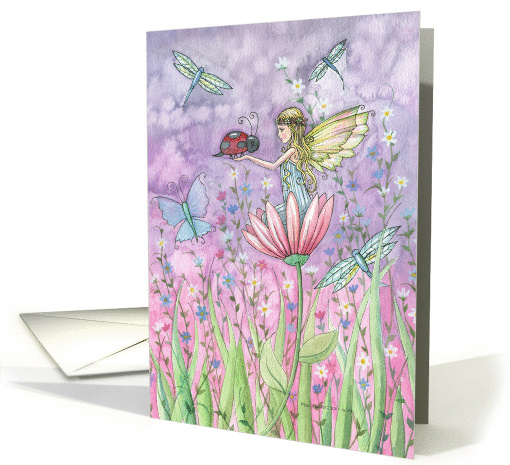 Sweet Flower Fairy Card - Ladybugs and Dragonflies card (852412)