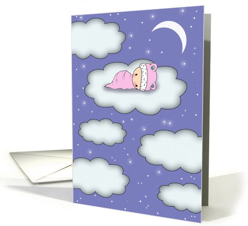 Baby Shower Invitation - Girl - Cute Baby on Cloud on a... (854627)