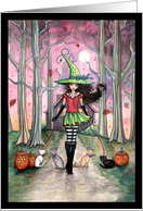 Halloween Witch and Cats Card - Molly Harrison Art card