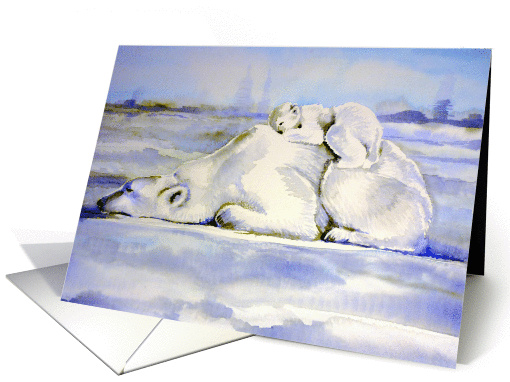 Polar Bear Card - Mother and Cub card (855096)
