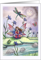 Magic at dusk - Spring Fairy with Frog and Dragonflies card