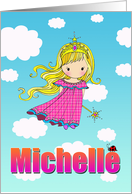 Birthday Card - Michelle Name - Fairy Princess in Clouds card
