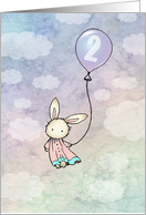 Sweet Bunny Two Year Old Birthday Card - 2 year card