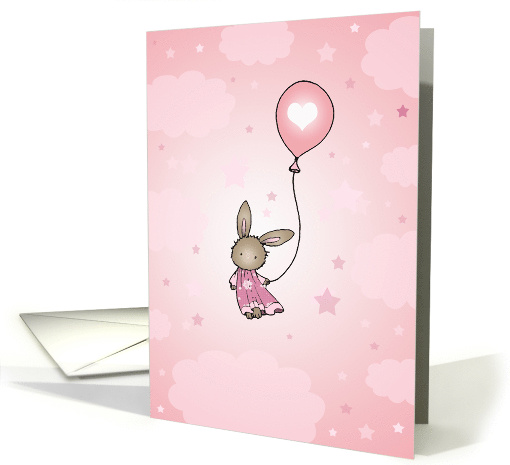 Little Brown Bunny in Pink - Happy Birthday card (855636)
