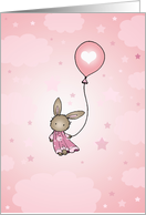 Little Brown Bunny in Pink - Happy Birthday Card