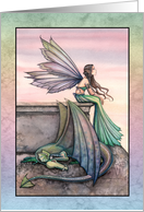 Thinking of You - Fairy and Dragon Art by Molly Harrison card