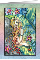 Thinking of You Card - Mermaid with Flowers card
