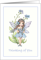 Tninking of You Card - Cute Forget-Me-Not Flower Fairy card
