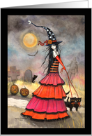 Halloween Witch and Black Cats in Graveyard card