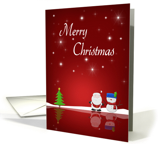 Merry Christmas Snowman and Santa - card (985089)
