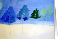Winter greetings with snow and blue trees card