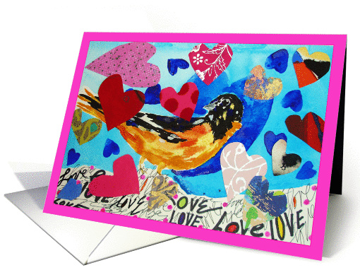 colorful bird with hearts on wing card (891591)
