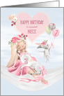 Niece 7th Birthday with Ballerina, Unicorn, Rabbit and Balloons card