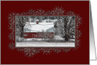 Country Christmas Old Red Barn card