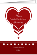 Valentine's Day Birthday for Son ~ Red and White Hearts card