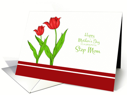 Mother's Day for Step Mom - Red Tulips card (1058181)