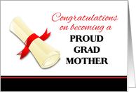 Congratulations for Mother of Graduate - Diploma with Red Ribbon card