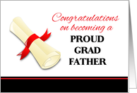 Congratulations for Father of Graduate - Diploma with Red Ribbon card