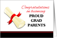 Congratulations for Parents of Graduate - Diploma with Red Ribbon card