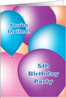 5th Birthday Party Invitation - Big Balloons card