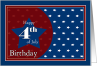 Happy 4th of July Birthday - Red, White and Blue Stars card