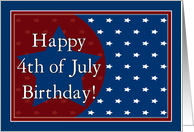 Happy 4th of July Birthday From All of Us - Red, White and Blue Stars card