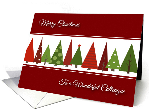 Merry Christmas for Colleague - Festive Christmas Trees card (1114042)