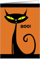 Halloween Boo Black Cat with Yellow Eyes card