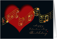 Valentine's Day Birthday Musical Notes and Hearts card