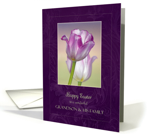 Easter for Grandson and his Family ~ Pink Ribbon Tulips card (1249336)