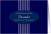 Congratulations Employee of the Month December - White Stripes card