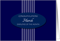 Congratulations Employee of the Month March - White Stripes card