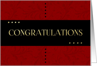 Congratulations with Black and Red Damask card