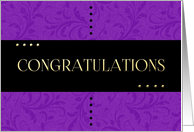Congratulations with Black and Purple Damask card