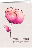 Thank You for your Support During Illness Watercolor Flower card