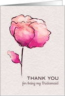 Thank You for Bridesmaid Watercolor Flower card