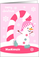 Merry Christmas for Girls Custom Name Ice Skating Snowman card
