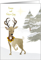 Christmas Heaven and Nature Sing Watercolor with Reindeer card