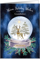 Christmas for Grandfather Peace on Earth Reindeer Snow Globe card